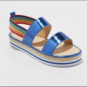 Cat & Jack metallic espadrille rainbow sandals 🌈